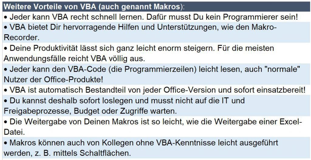 Was können Makros in Excel VBA