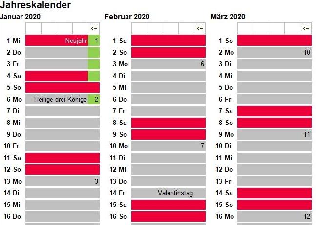 Excel Jahreskalender 2020
