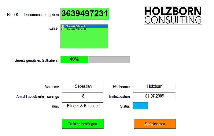User Form für Fitnesskurse mit NFC / RFID
