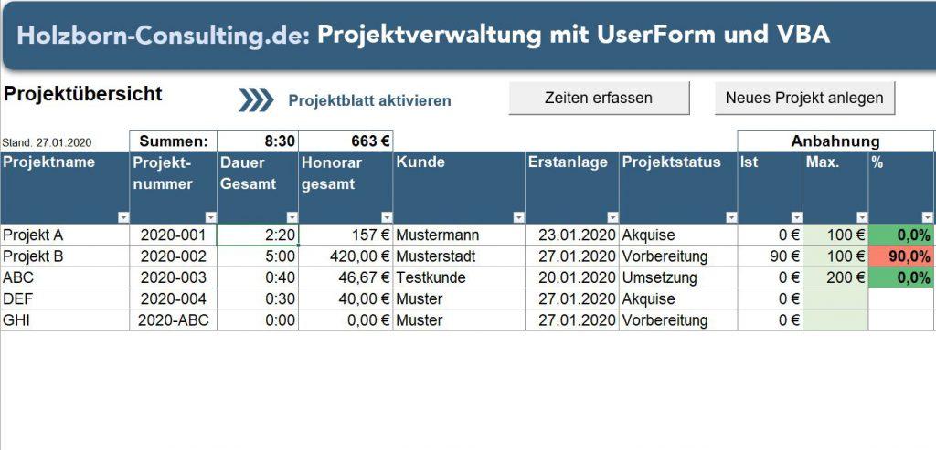 Projektverwaltung Zeiterfassung UserForm VBA